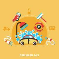 Composição da lavagem de carros 24h vetor