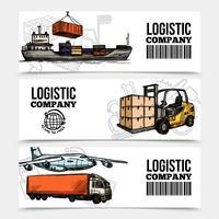 Banners horizontais de logística vetor