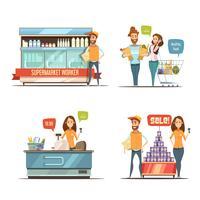 Pessoas na coleção de ícones de Cartoon de supermercado