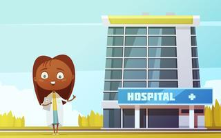 Estatueta de desenhos animados do médico feminino no Hospital da cidade