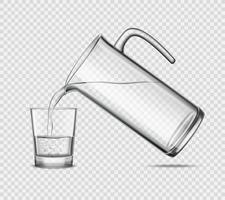 Derramando água em vidro no fundo transparente vetor