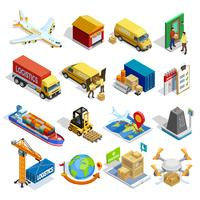 Conjunto de ícones isométrica de logística