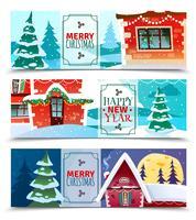 Banners Horizontais de Natal vetor