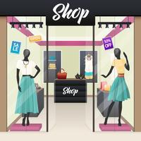 Indicador da janela da venda da loja da forma das mulheres vetor