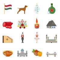 Conjunto de ícones de viagens Hungria vetor