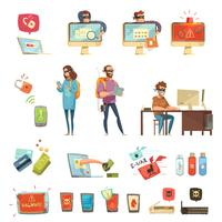 Conjunto de ícones de Cartoon retrô de atividades de hackers