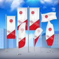 Banners de bandeira coleção cor céu fundo vetor