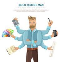 Cartaz de homem multitarefa plana vetor