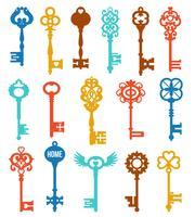 Conjunto de chaves coloridas vetor