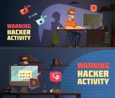 Banners horizontais de aviso 2 de atividade de hackers vetor
