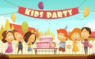 Fundo de desenhos animados de festa de crianças vetor