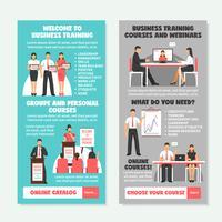 Banners verticais de treinamento de negócios vetor