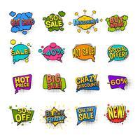 Conjunto de ícones de quadrinhos de venda vetor