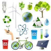 Conjunto de sinal de energia verde
