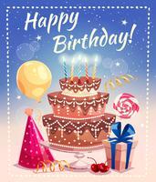 Feliz aniversário, vetorial, ilustração