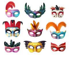 Masquerade Carnival Face Masks Set Realista vetor