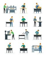 Carpinteiro Carpenter Service Flat Icons Coleção vetor