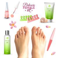 Conjunto de pés femininos de pedicure