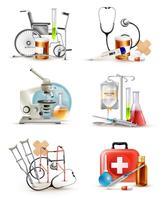 Conjunto de elementos de suprimentos médicos