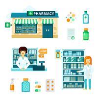 Conjunto de ícones de farmácia vetor