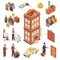 Conjunto de ícones isométrica de Hotel vetor
