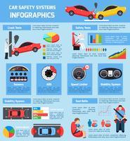 Infografia de sistemas de segurança de carro vetor