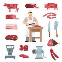Conjunto De Açougueiro De Carne vetor