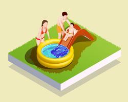 Composição de família de piscina inflável