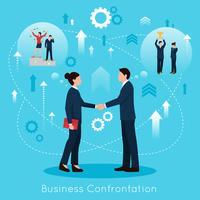 Cartaz de composição plana de confrontação de negócios construtivos vetor