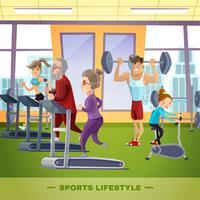 Modelo plano de família de esportes vetor