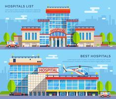 Banners planos hospitalares vetor