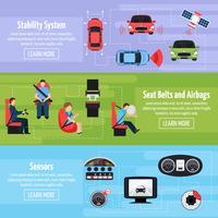 Banners horizontais de sistemas de segurança de carro