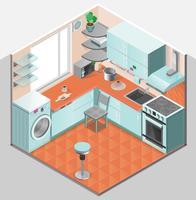 Modelo isométrico Interior de cozinha vetor