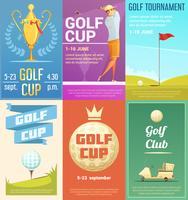 Conjunto de cartazes retrô de clube de golfe 6 vetor