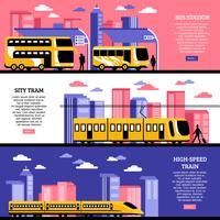 Banners horizontais de transporte de cidade vetor