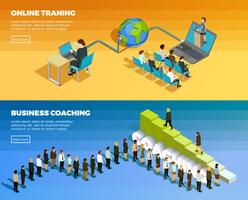 Banners horizontais isométrica de educação de negócios