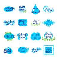 Conjunto de rótulos retrô de água vetor