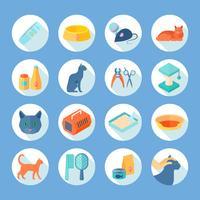 Conjunto de ícones redondo plana de cuidados gato