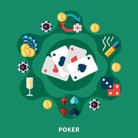 Composição de rodada de ícones de Poker de cassino