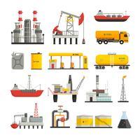 Conjunto de ícones de indústria de petróleo e gasolina