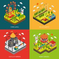 Parque de atrações 4 isométrica ícones quadrados vetor