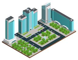 Composição isométrica de cidade moderna vetor