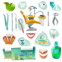 Conjunto de ícones decorativos de consultório odontológico
