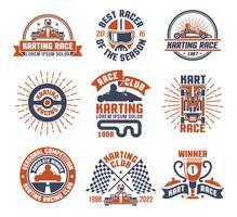 karting motor race logo emblema conjunto