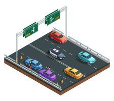 Composição isométrica de acidentes de carro vetor