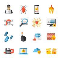 Conjunto de ícones de elementos de hacking