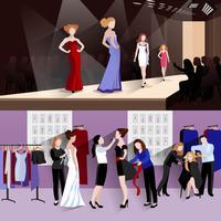 Conjunto de banner de modelo de moda vetor