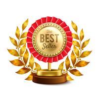 Projeto realístico da medalha de ouro do melhor vendedor vetor