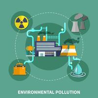 Ilustração em vetor objeto poluição ambiental