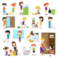 conjunto de limpeza infantil vetor